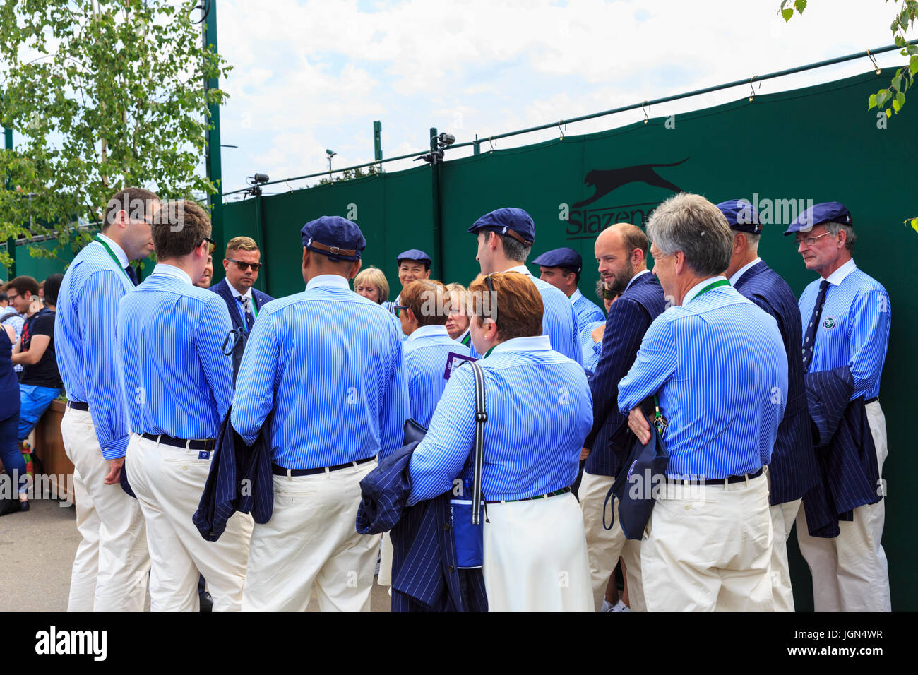 Wimbledon line umpires during a morning briefing at the Wimbledon Tennis Championships 2017, All England Lawn Tennis - Stock Image