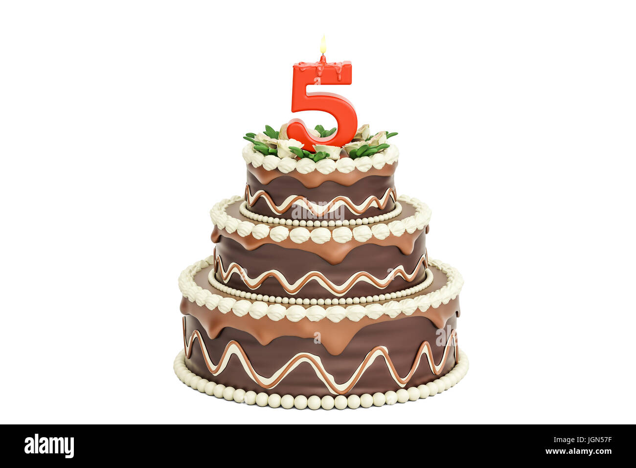 Chocolate Birthday Cake With Candle Number 5 3d Rendering Isolated