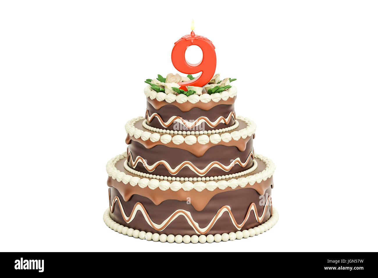 Chocolate Birthday Cake With Candle Number 9 3D Rendering Isolated On White Background