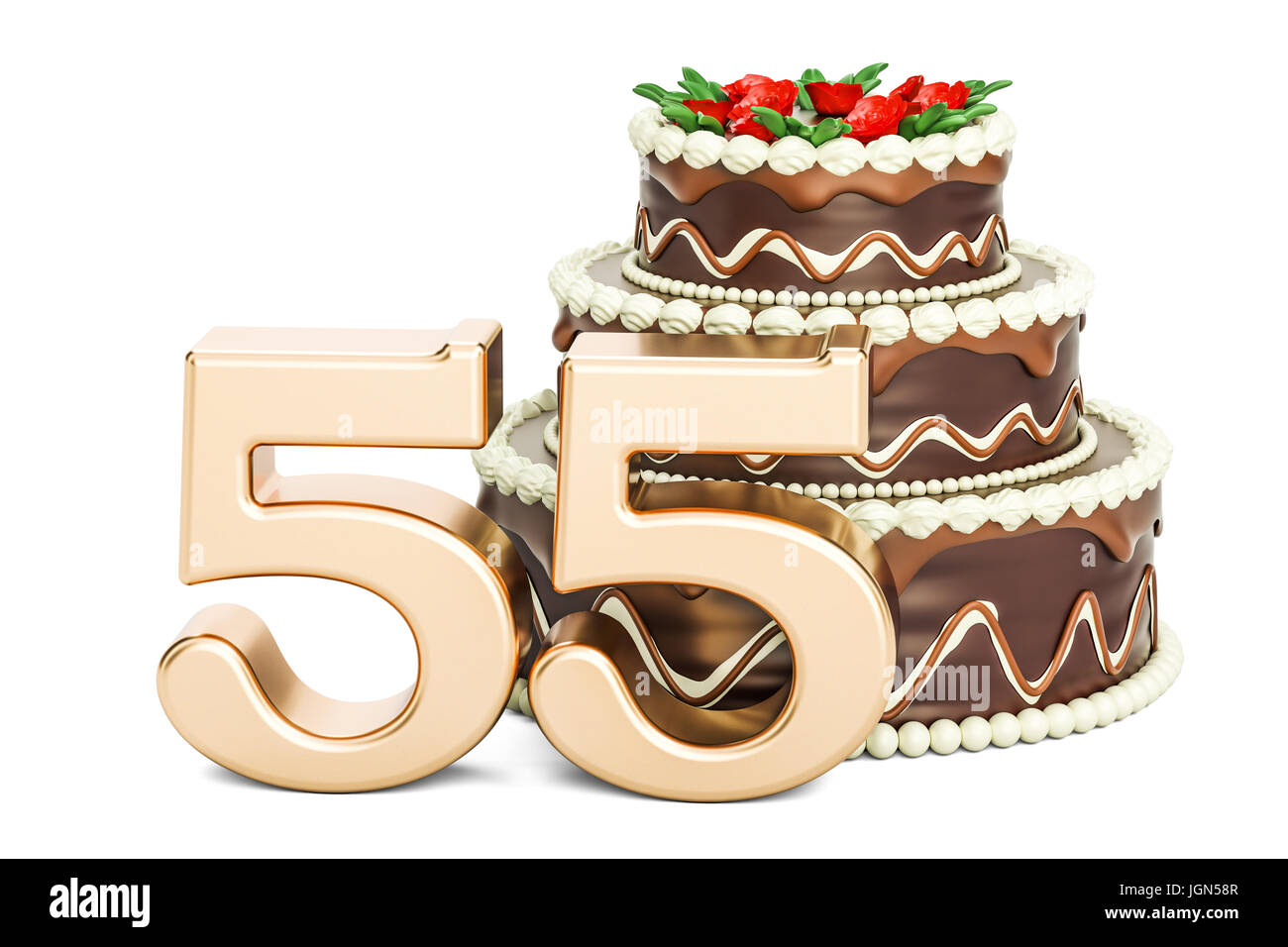 Tremendous Chocolate Birthday Cake With Golden Number 55 3D Rendering Funny Birthday Cards Online Inifofree Goldxyz