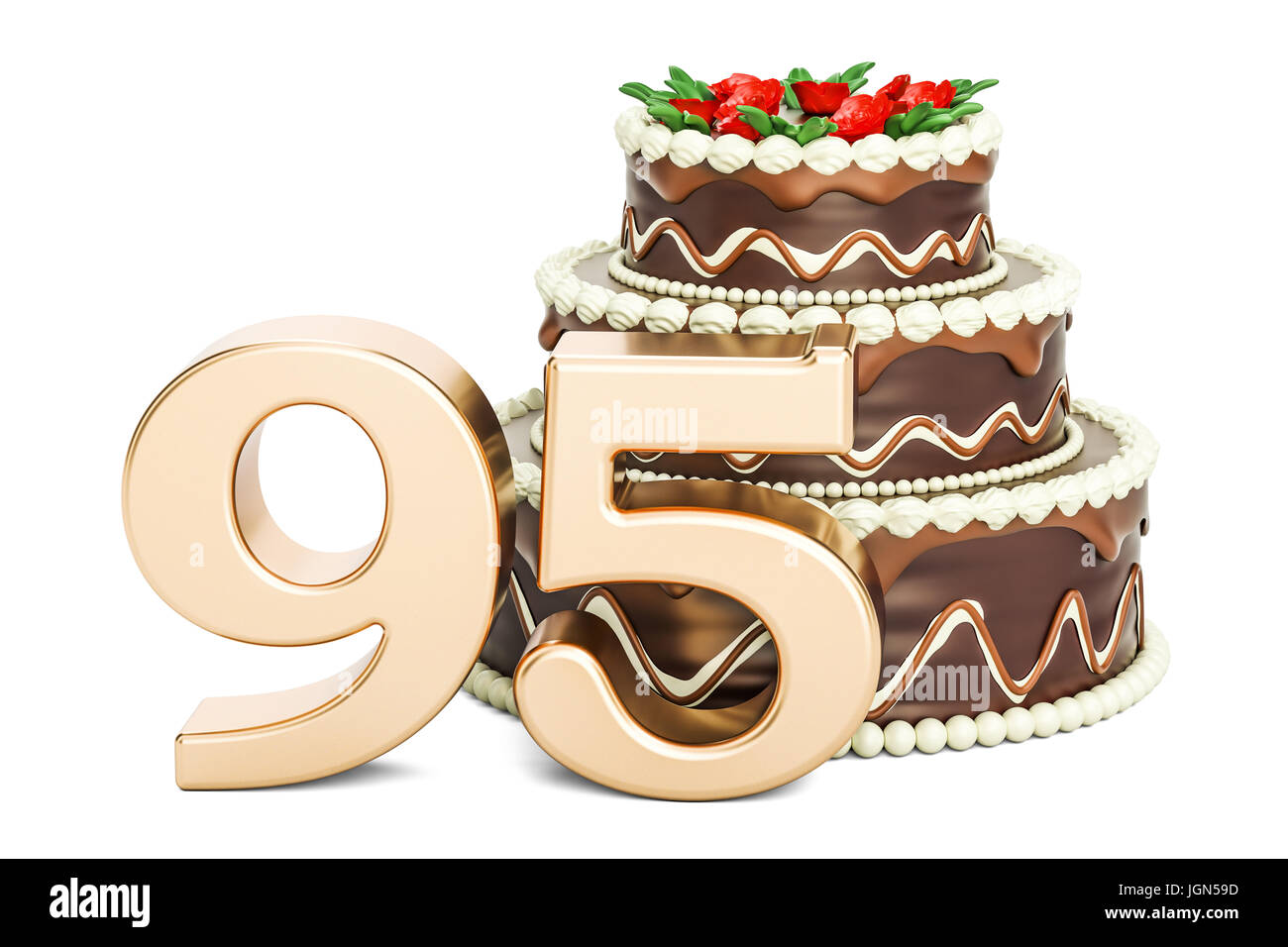 Chocolate Birthday Cake With Golden Number 95 3D Rendering Isolated On White Background