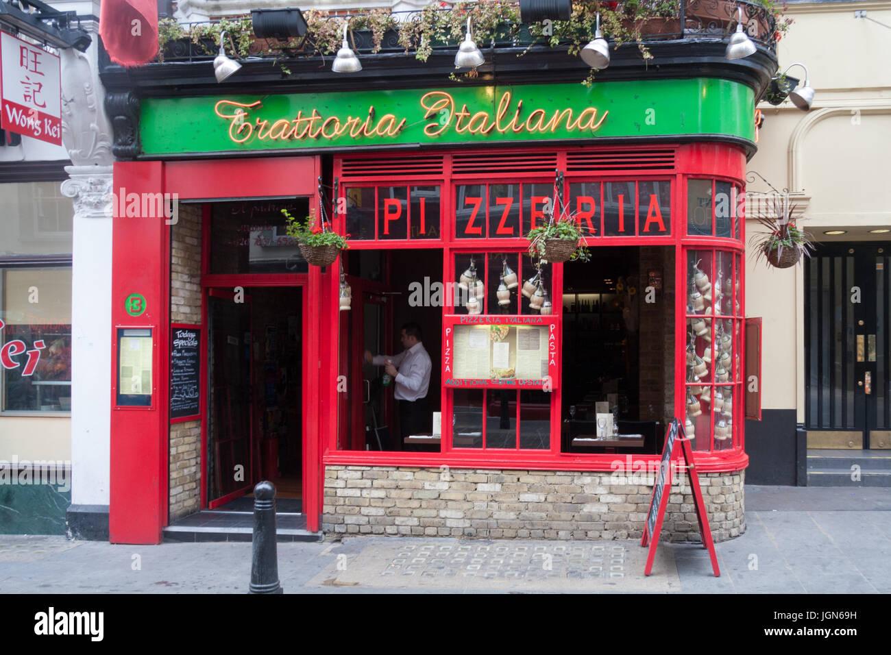 Trattoria Italiana Italian restaurant, Wardour street, Chinatown, London, England, United Kingdom - Stock Image