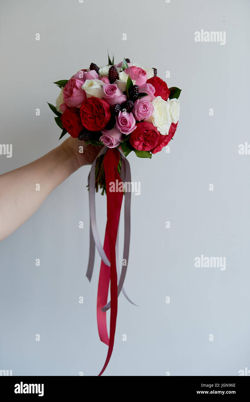 Wedding Bridal bouquet in red, pink, white.Wedding flowers, wedding ...