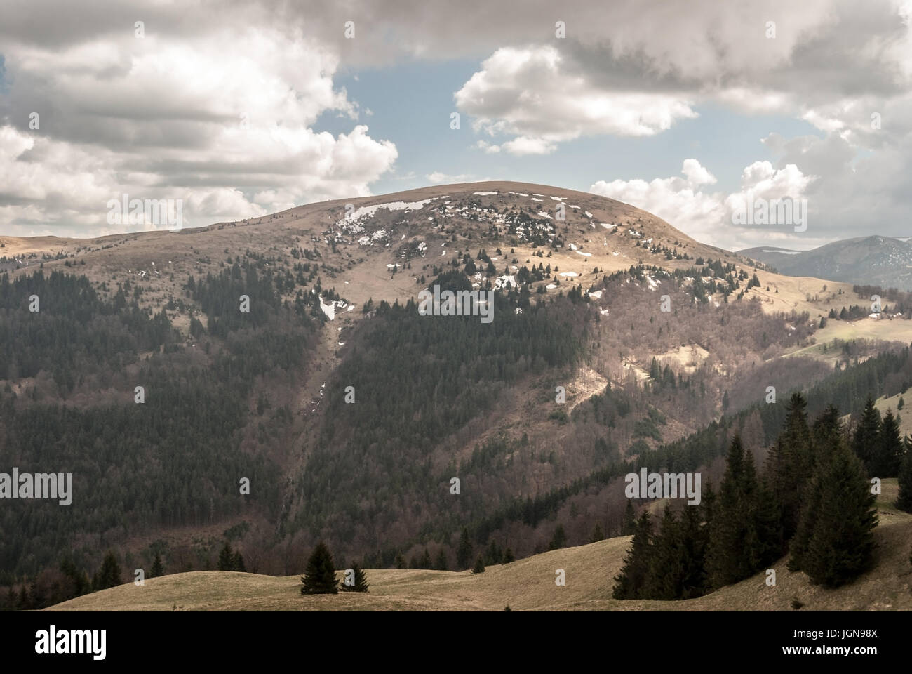 Ploska hill from Javorina hill in Velka Fatra mountains in Slovakia during spring day with blue sky and clouds Stock Photo