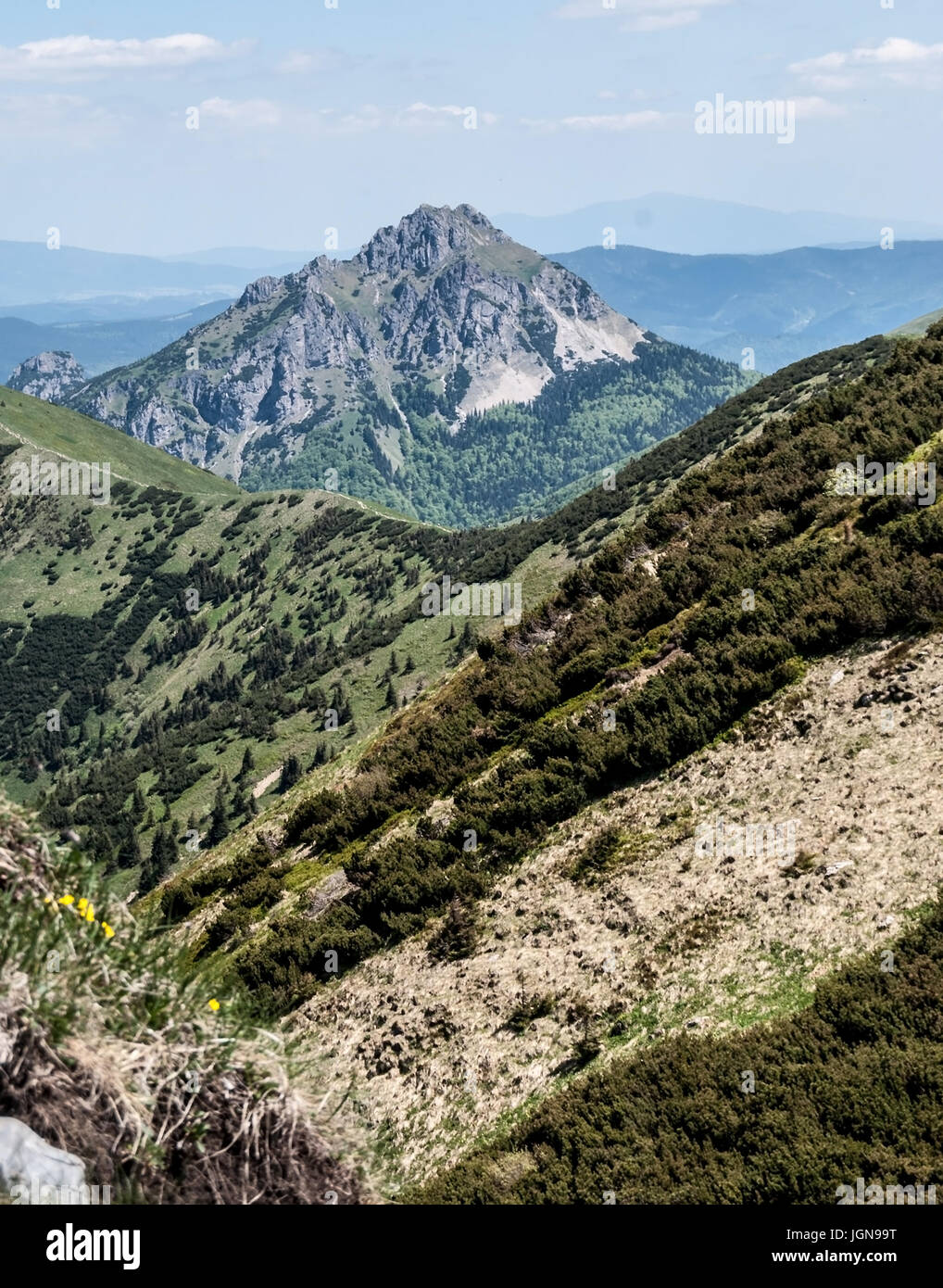 rocky Velky Rozsutec and smaller Maly Rozsutec hill from hiking trail near Hromove hill in Mala Fatra mountains Stock Photo