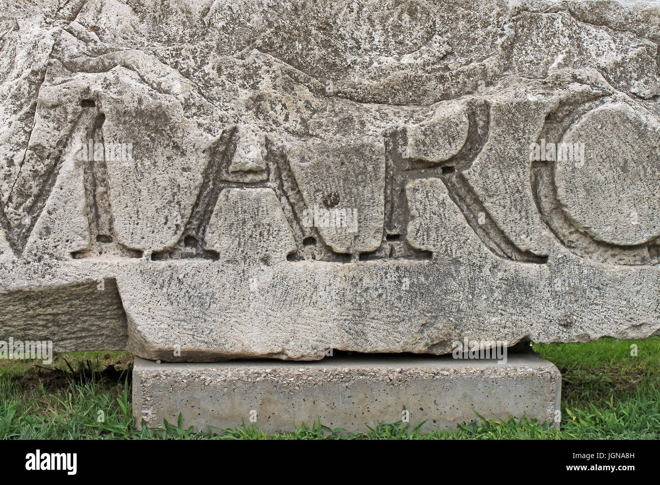 Artefact of Roman forum. City of Zadar. Croatia. - Stock Image