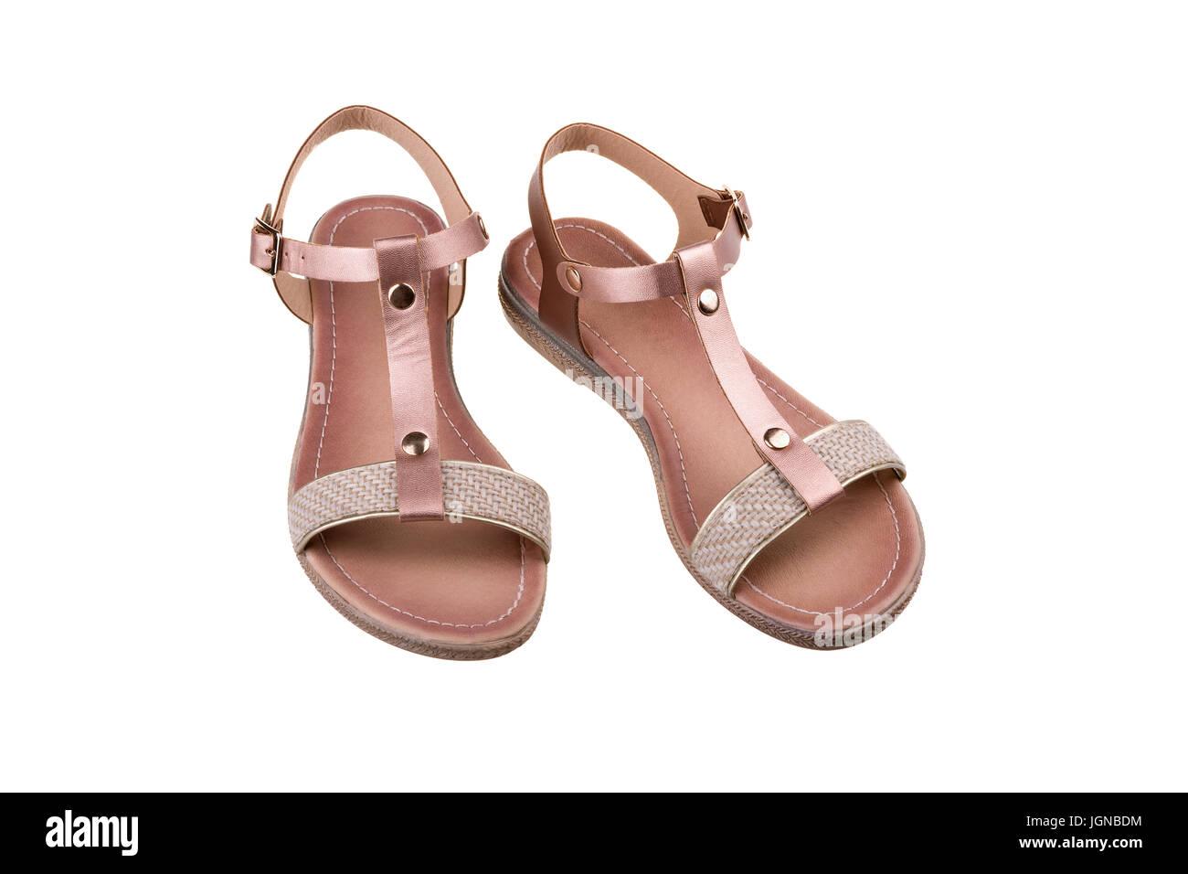 8b3051ce0e032 Female Feet Leather Sandals On Stock Photos   Female Feet Leather ...