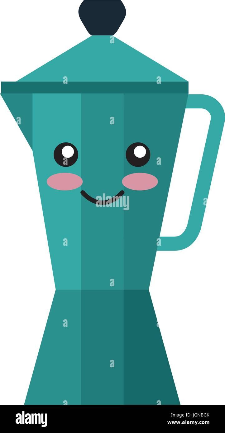 kitchen kettle kawai character vector illustration design Stock ...