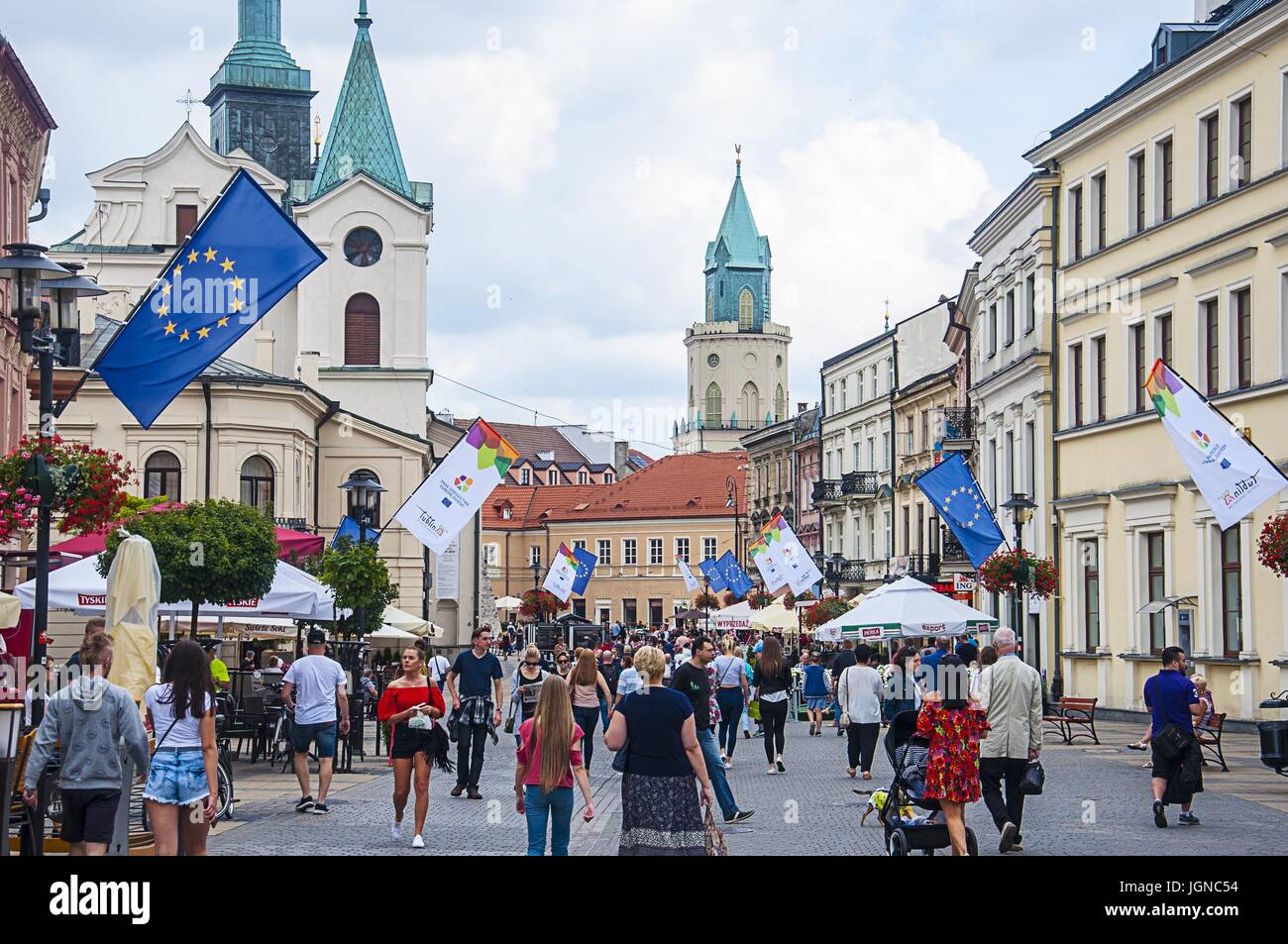 LUBLIN, POLAND- 07 july 2017- city center with UE flags - Stock Image