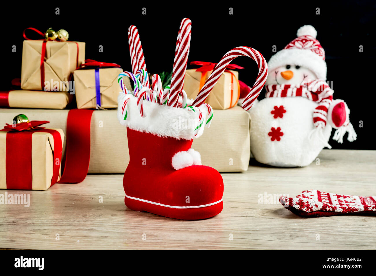 Christmas Boot Fill With Candy Canes With Snowman And