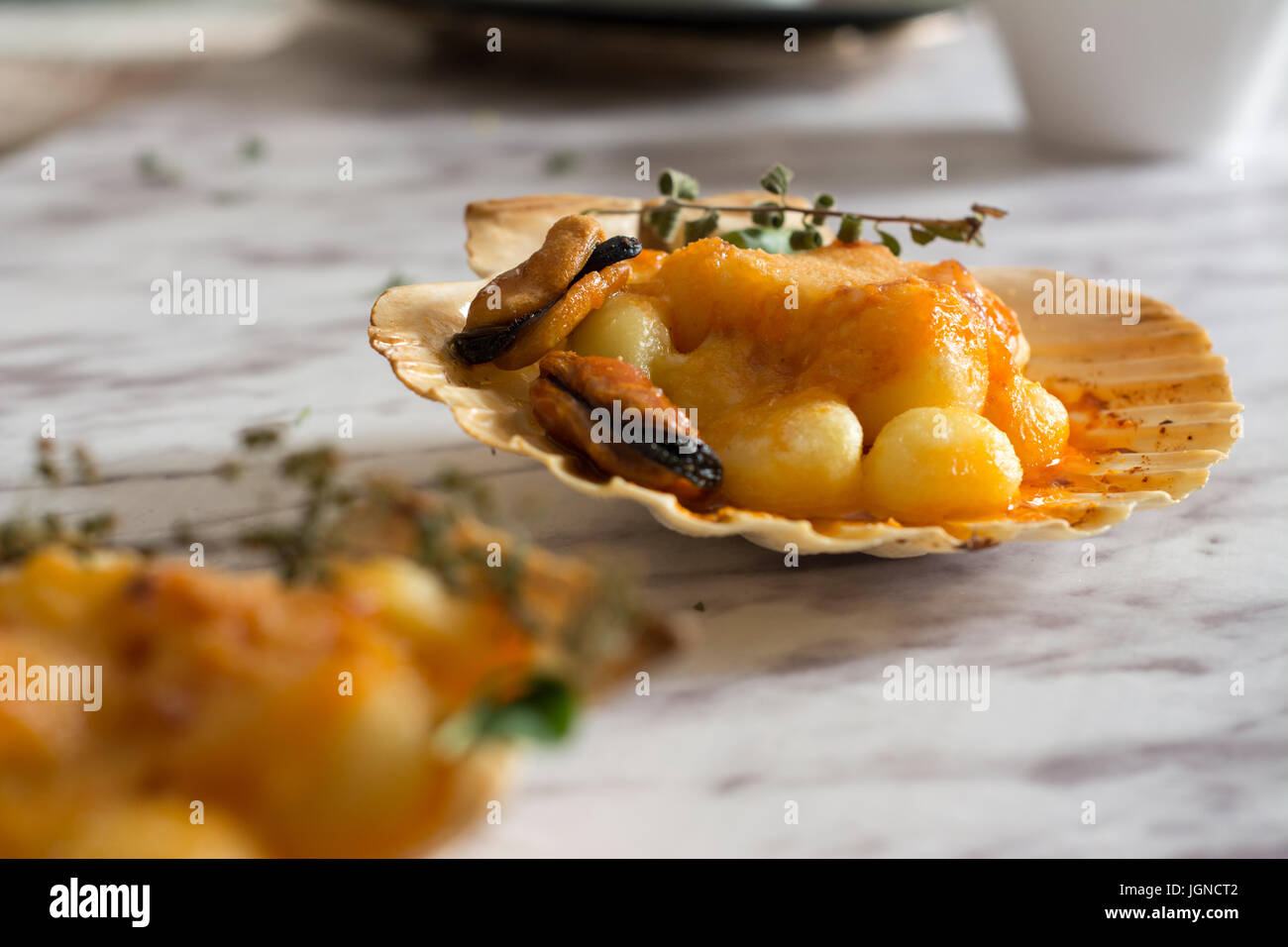 Gnocchi pasta with mussels, tomato and cream room, in vieira shell - Stock Image