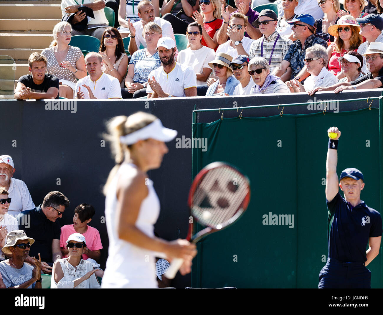 London, UK. 8th July, 2017. Players box of german tennis player Angelique Kerber at the Wimbledon Tennis Championships Stock Photo