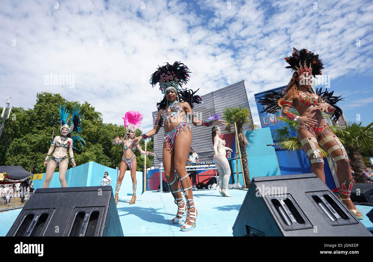 London, UK. 08th July, 2017. Dancers performing at the 2017 British Summer Time (BST) Festival in Hyde Park in London Stock Photo