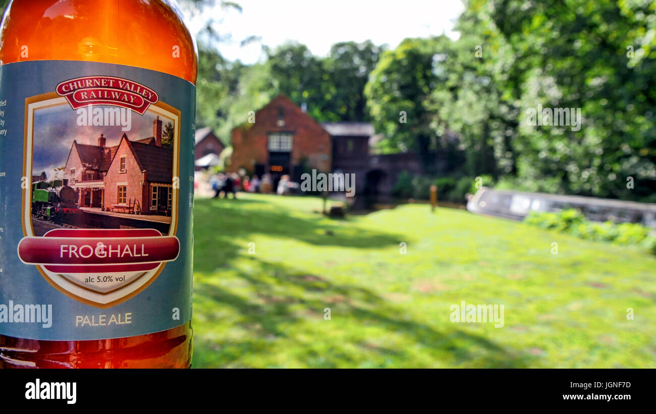 Churnet Valley, UK. 8th July, 2017. The UK's longest real ale festival the Churnet Valley Rail Ale Trail Beer - Stock Image