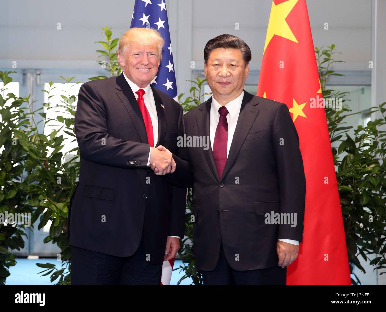 Hamburg, Germany. 8th July, 2017. Chinese President Xi Jinping (R) meets with his U.S. counterpart Donald Trump - Stock Image