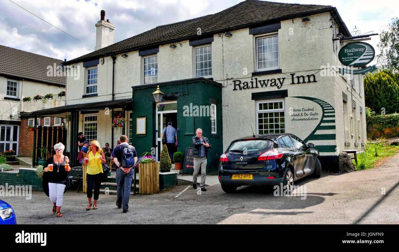 Churnet Valley, UK. 8th July, 2017. The UK's longest real ale festival the Churnet Valley Rail Ale Trail Beer festivalStock Photo