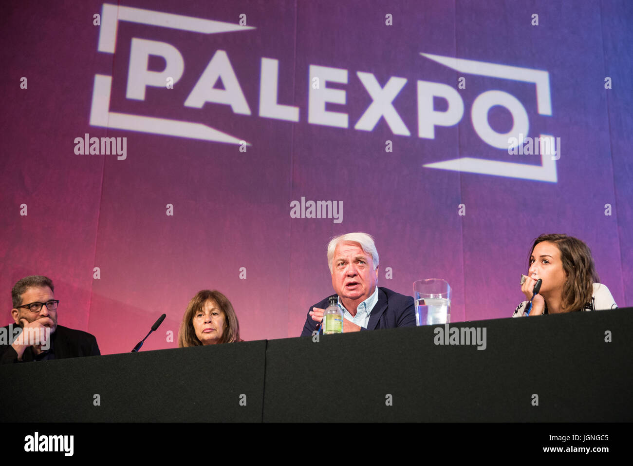 London, UK. 8th July, 2017. Hugh Lanning, Chair of Palestine Solidarity Campaign, addresses a session of Palestine - Stock Image