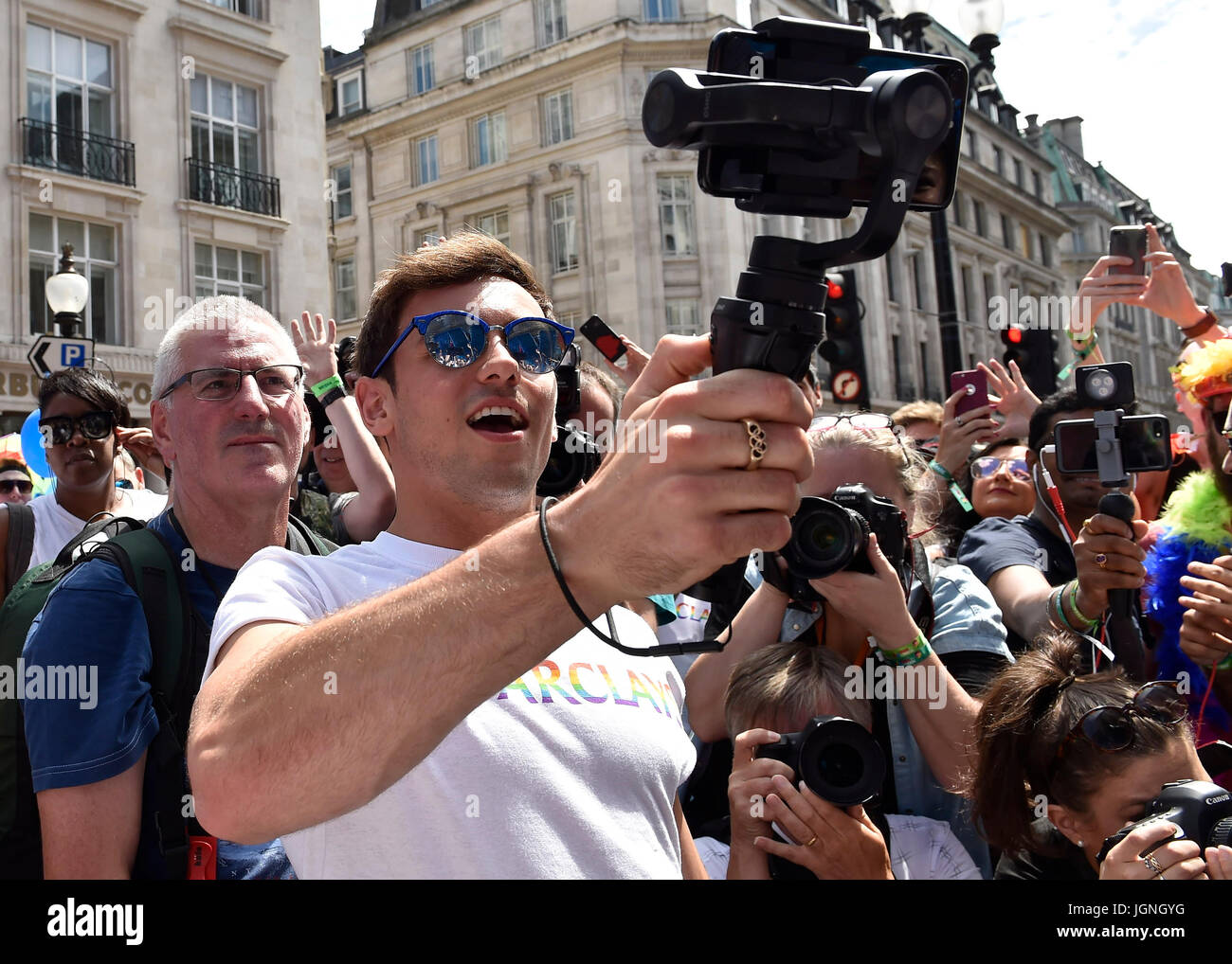 London, UK. 08th July, 2017. Tom Daley took a selfie during Pride In London on Saturday. Photo : Taka G Wu Credit: Stock Photo