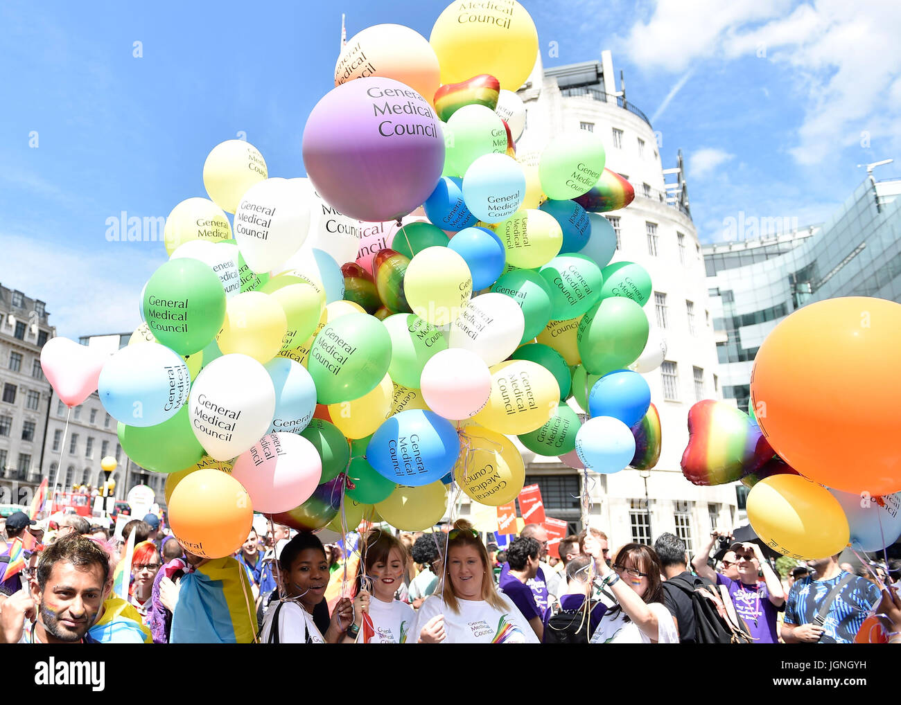 London, UK. 08th July, 2017. General Medical Centre took part in the Pride during Pride In London on Saturday. Photo - Stock Image