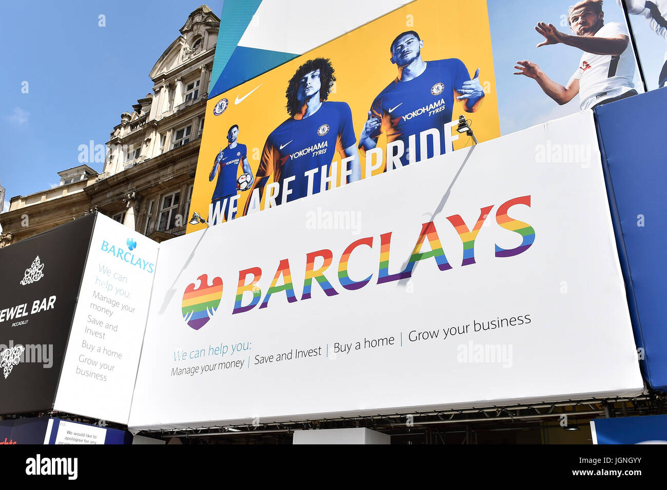 London, UK. 08th July, 2017. Barclays Bank, Piccadilly Circus branch decorated in Rain Bow colour in celebration - Stock Image