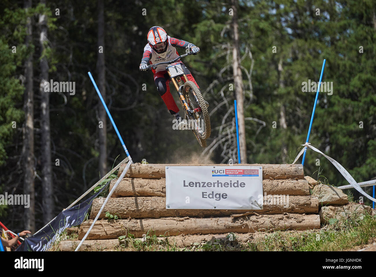 Lenzerheide, Switzerland. 7 July 2017. Greg Minnaar from SANTA CRUZ SYNDICATE during the UCI Mountain Bike Downhill - Stock Image