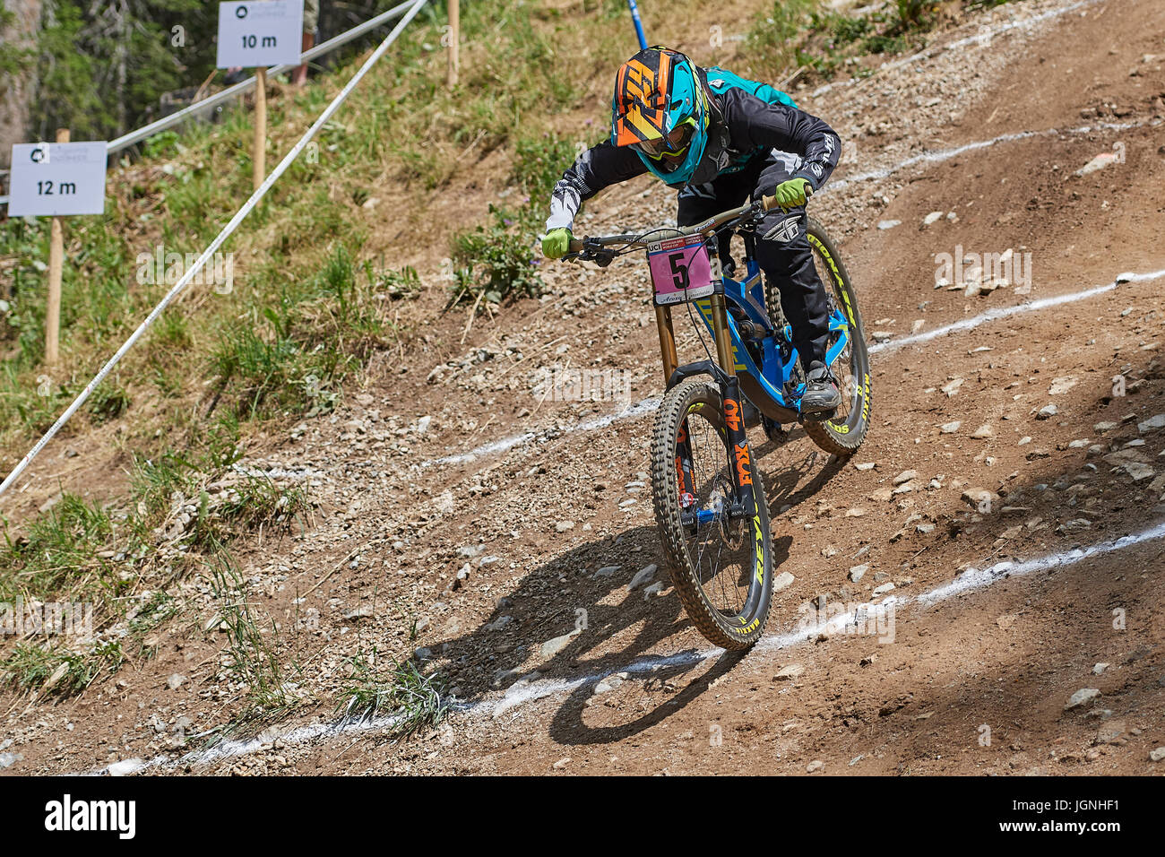 Lenzerheide, Switzerland. 8 July 2017. Emilie Siegenthaler from PIVOT FACTORY RACING during the UCI Mountain Bike - Stock Image
