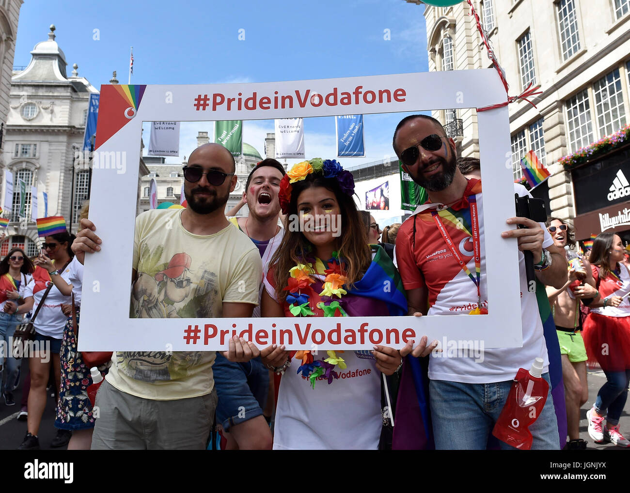 London, UK. 08th July, 2017. The workers from Vodafone posed photo during Pride In London on Saturday. Photo : Taka - Stock Image