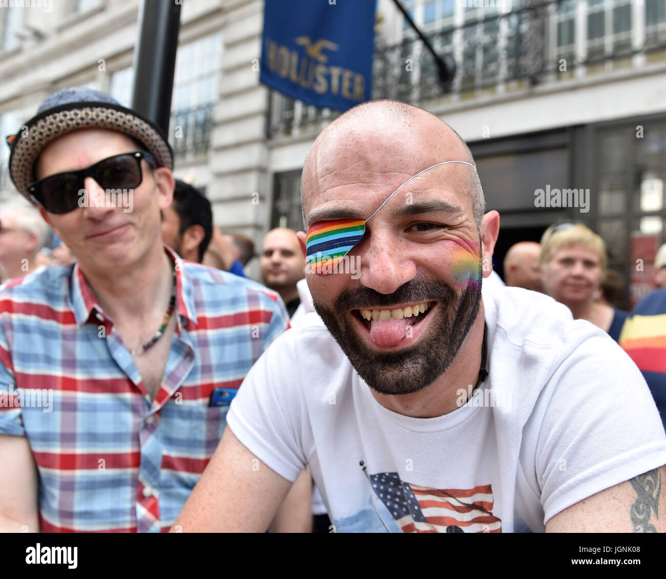 London, UK. 08th July, 2017. A spectator during Pride In London on Saturday. Photo : Taka G Wu Credit: Taka Wu/Alamy - Stock Image