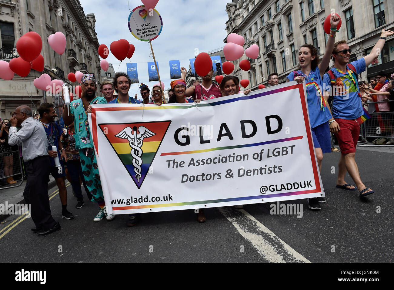 London, UK. 08th July, 2017. The GLADD joined the Pride In London on Saturday. Photo : Taka G Wu Credit: Taka Wu/Alamy - Stock Image