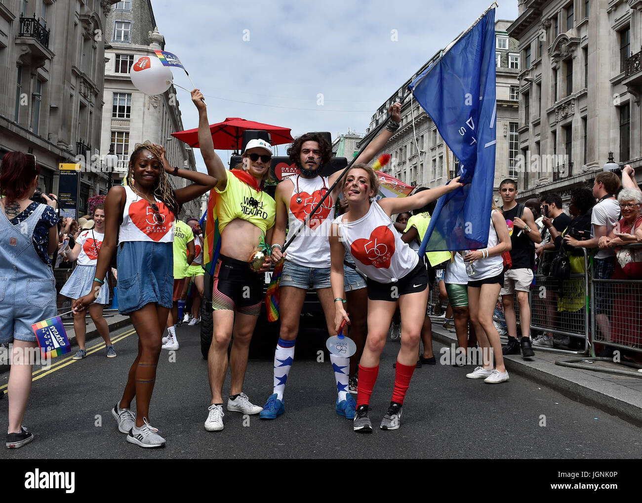 London, UK. 08th July, 2017. Workers from 56 Dean Street during Pride In London on Saturday. Photo : Taka G Wu Credit: - Stock Image