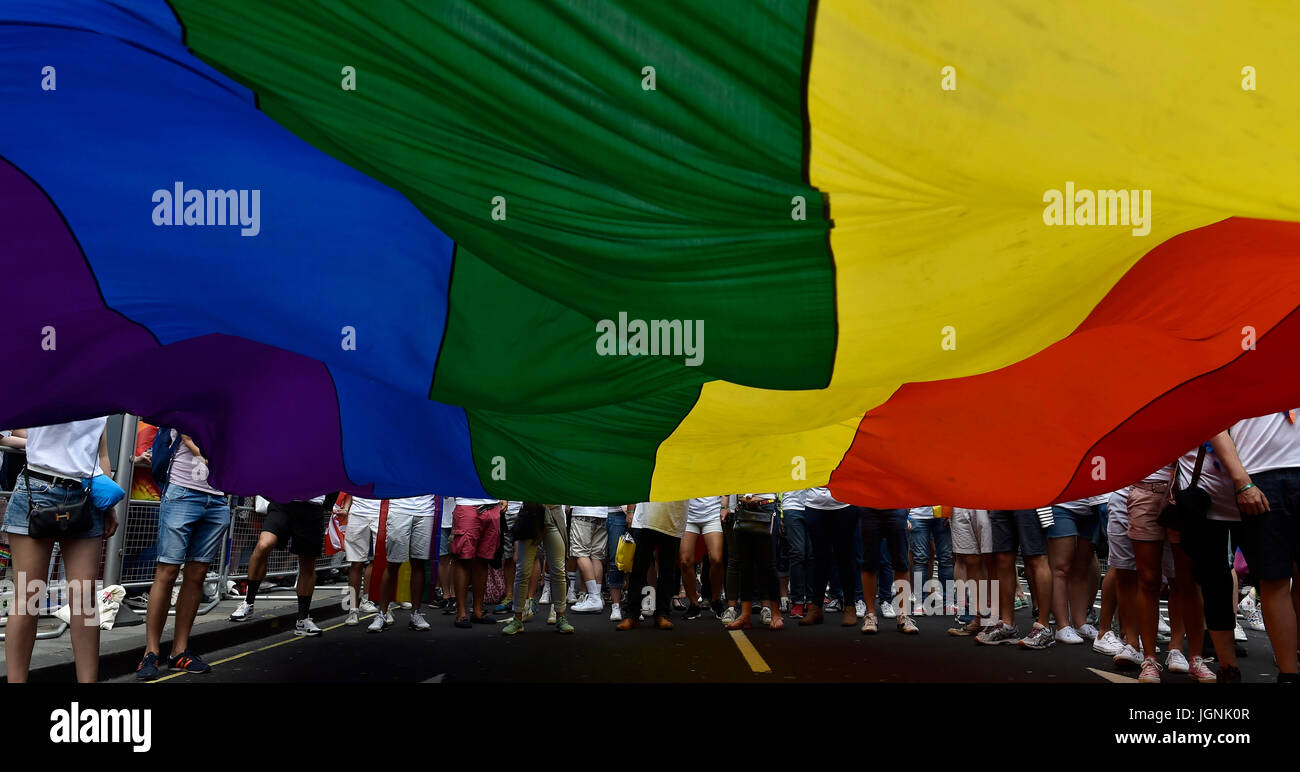 London, UK. 08th July, 2017. The Rain Bow flag during Pride In London on Saturday. Photo : Taka G Wu Credit: Taka Stock Photo