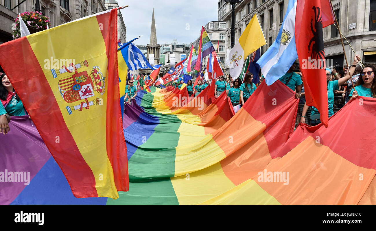 London, UK. 08th July, 2017. The Rain Bow, and representing other counties' flag during Pride In London on Saturday. - Stock Image