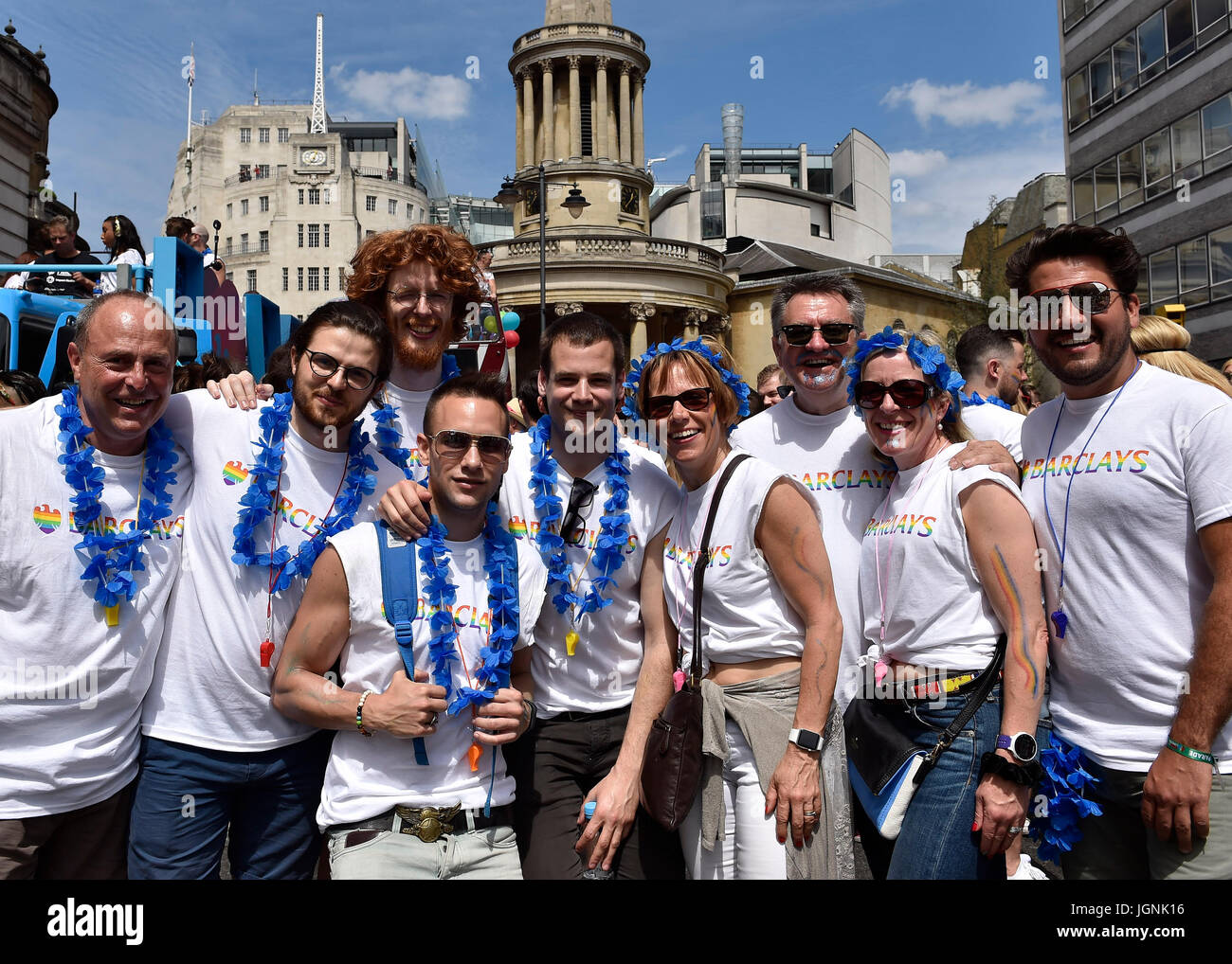 London, UK. 08th July, 2017. Workers at Barclays joined the Pride In London on Saturday. Photo : Taka G Wu Credit: - Stock Image