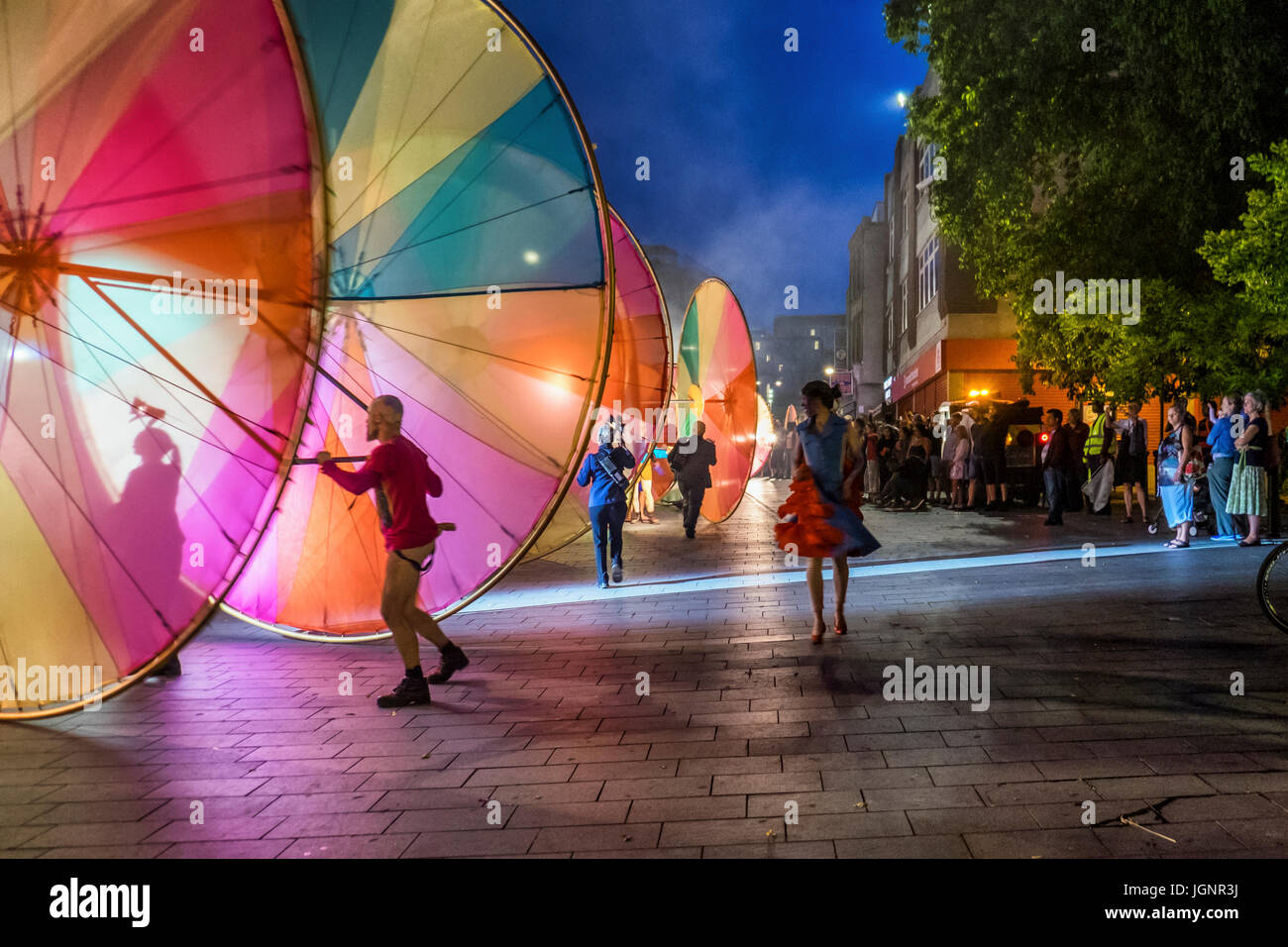 London, UK. 8th Jul, 2017. Greenwich and Docklands International Festival Finale, The Colour Of Light. Enormous - Stock Image