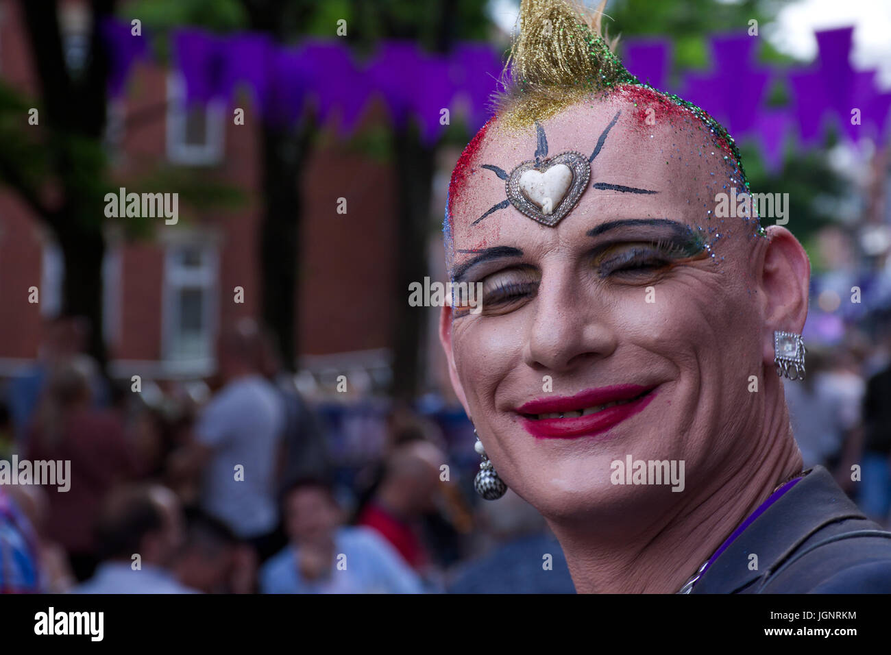 Manchester,UK.08th July ,2017.Happy person on Sparkle transgender pride event.Credit:JazzLove/Alamy Live News. - Stock Image