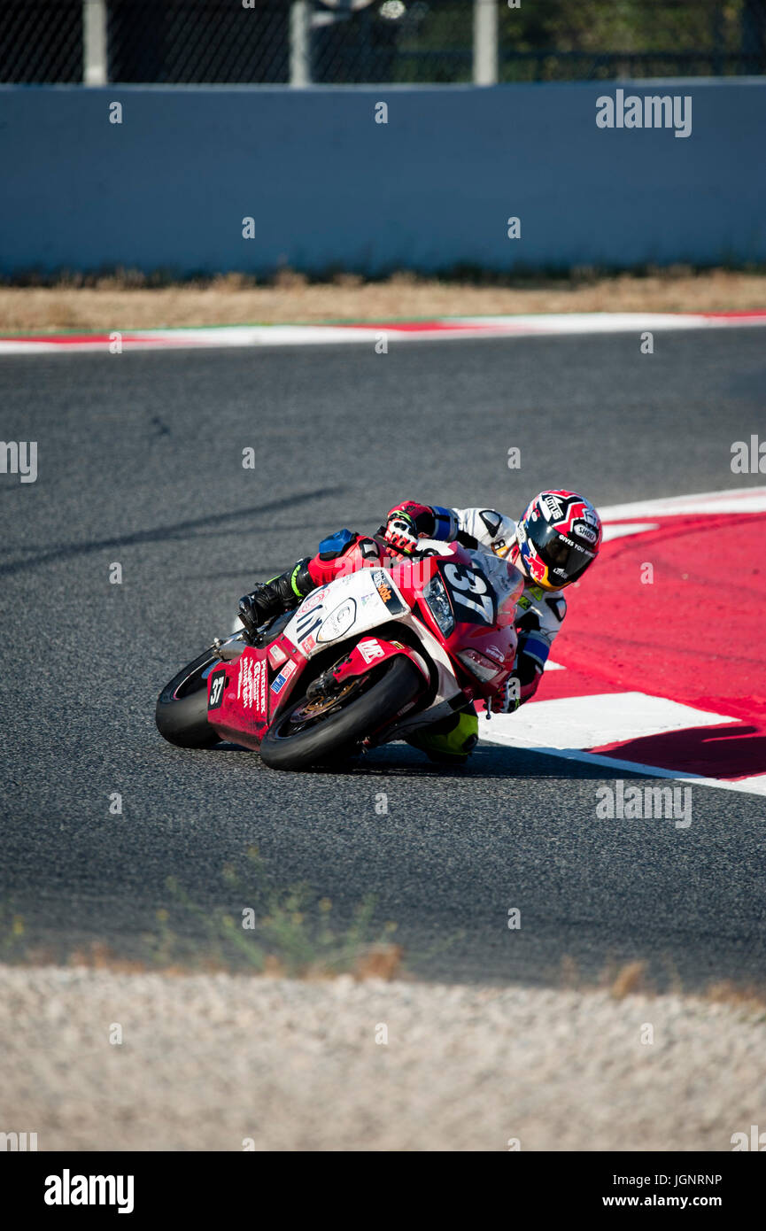 Barcelona, Spain. 9th July, 2017. Roger Alemany of the RRTeam37 Motomorfosi in action during the 24 Horas de Catalunya Stock Photo