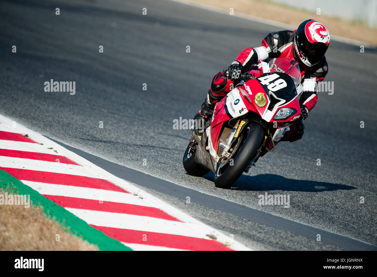 Barcelona, Spain. 9th July, 2017. Jordi Montero of the Motocrom Team in action during the 24 Horas de Catalunya Stock Photo