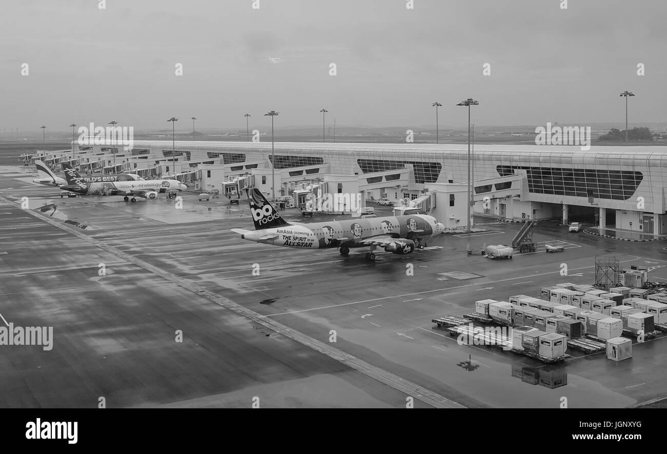 Kuala Lumpur, Malaysia - Dec 16, 2015. Civil aircrafts docking at KLIA2 Airport in Kuala Lumpur, Malaysia. KLIA2 - Stock Image