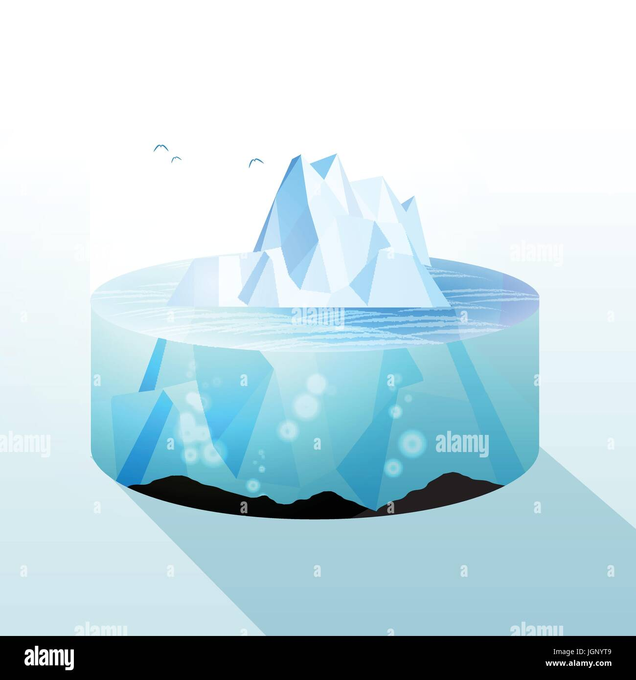 Iceberg Slice Underwater and Above Water Level View - Vector Illustration - Stock Vector