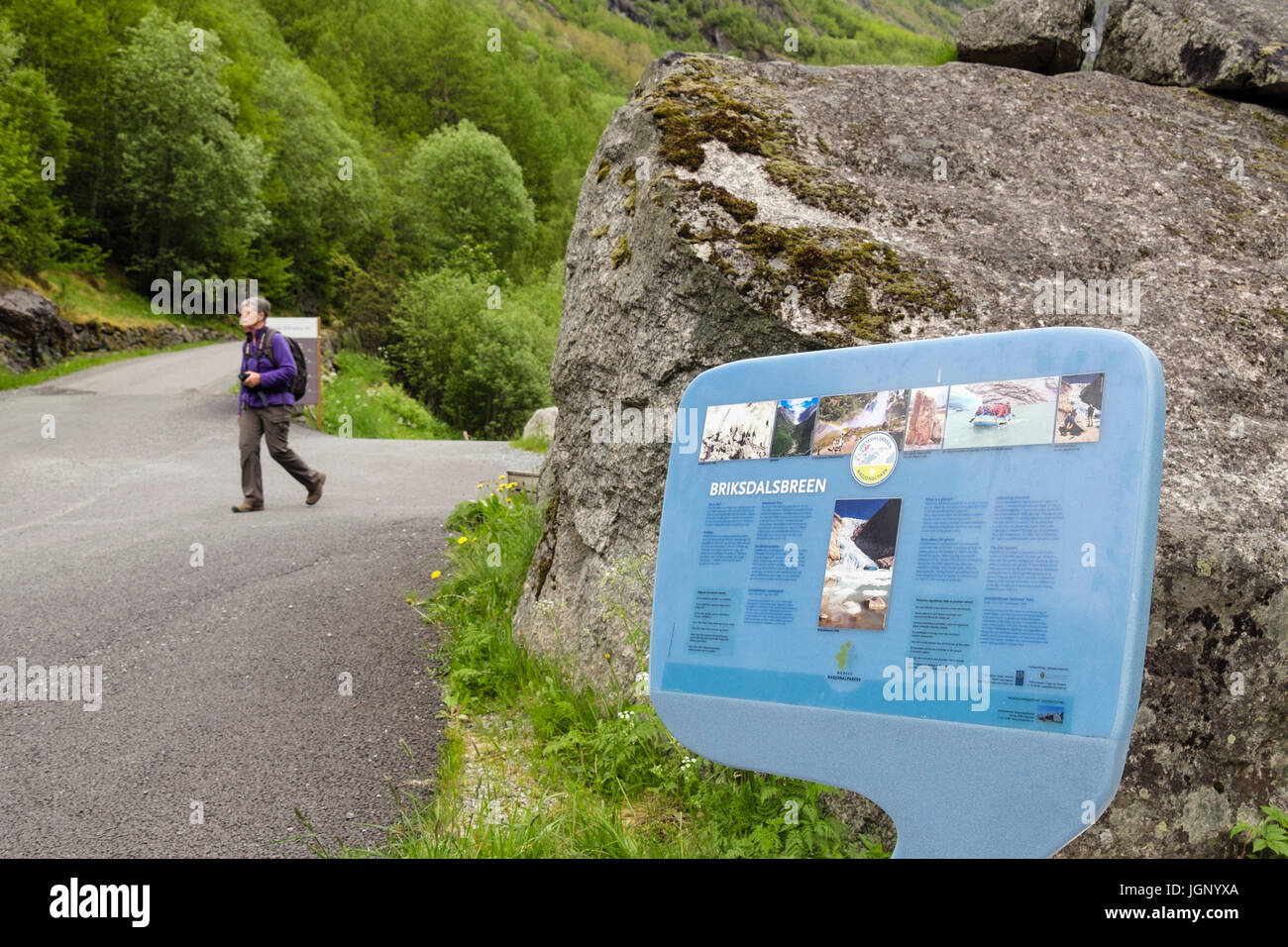 Information board about Briksdalsbreen or Briksdal glacier in Jostedalsbreen National Park. Briksdalen or Briks - Stock Image