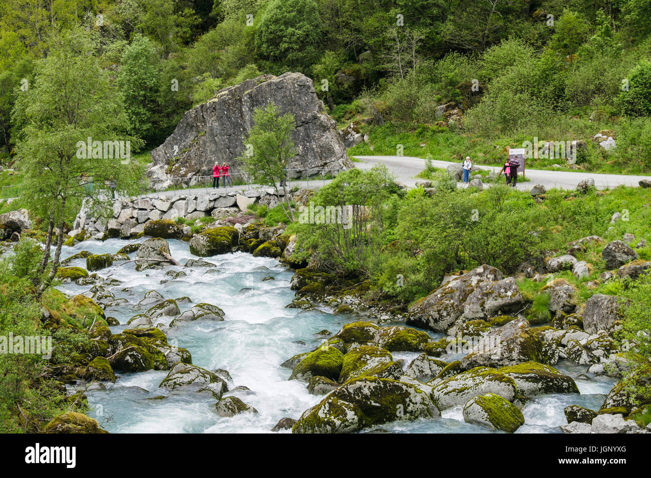 River and tourist trail to Briksdalsbreen or Briksdal glacier through Briksdalen or Briks valley in Jostedalsbreen - Stock Image