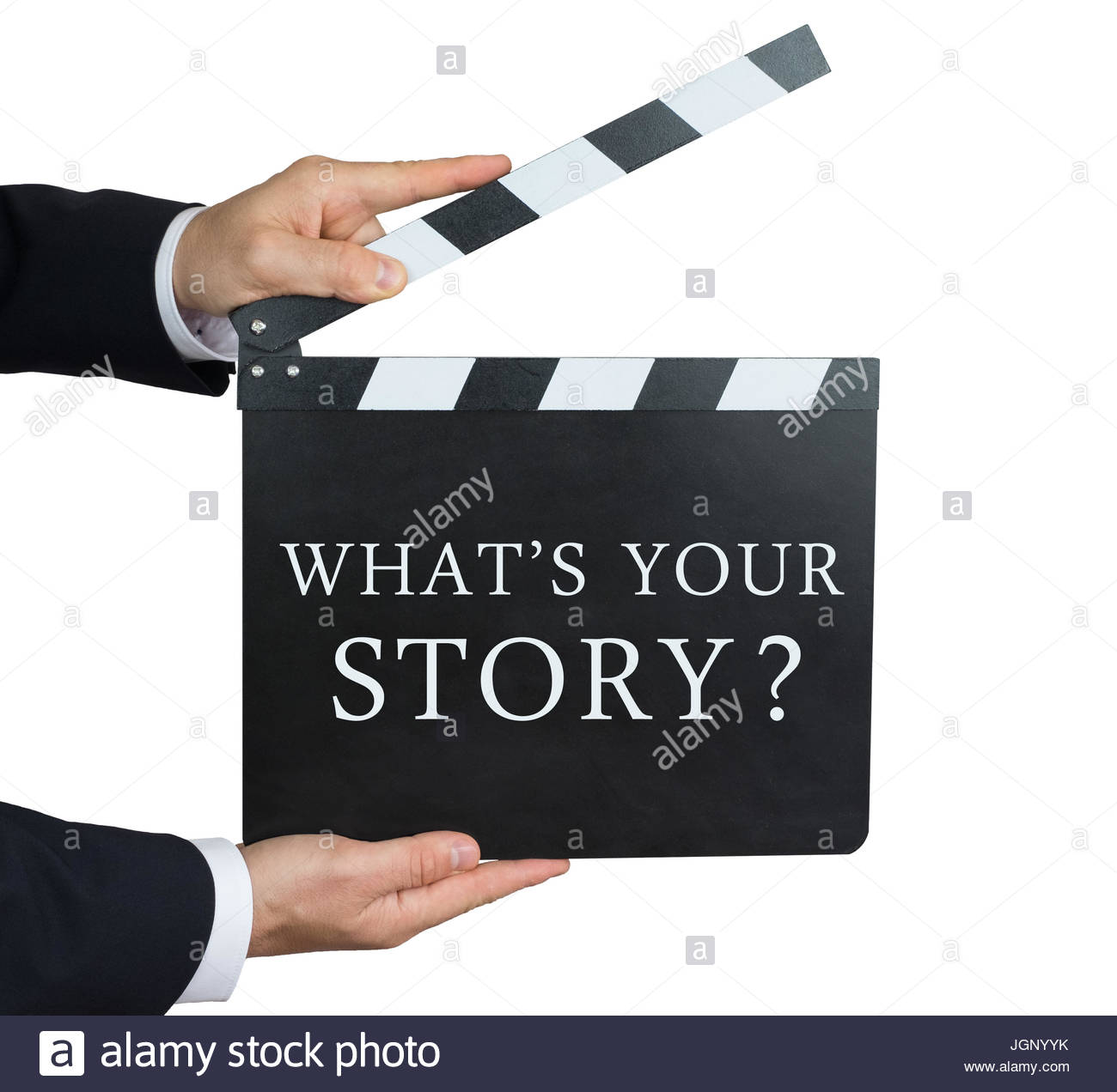 What's your story - question written on a clapperboard - Stock Image