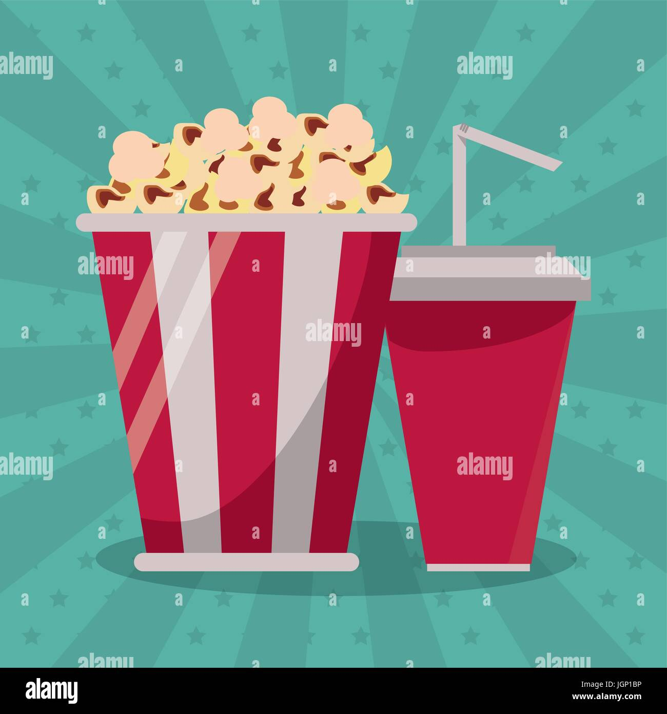 colorful background with popcorn pack and soda Stock Vector
