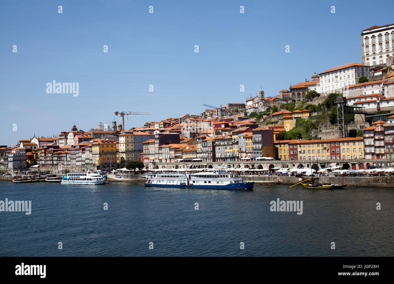 View of Porto Buildings on Ribeira Side along River Douro - Porto - Portugal - Stock Image