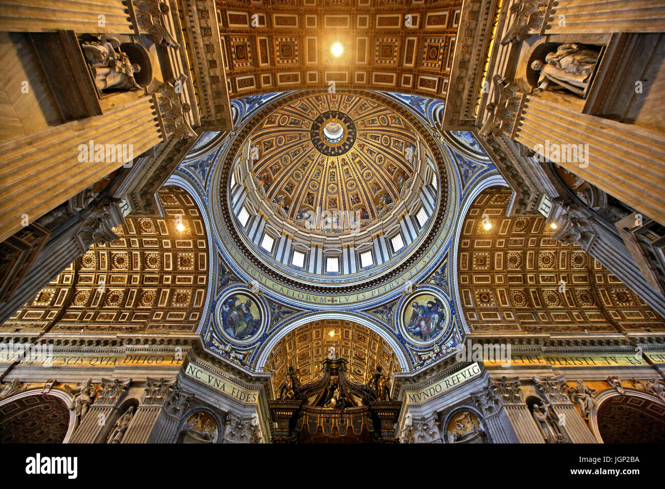 The imposing dome of St. Peter's Basilica, Vatican City State. - Stock Image