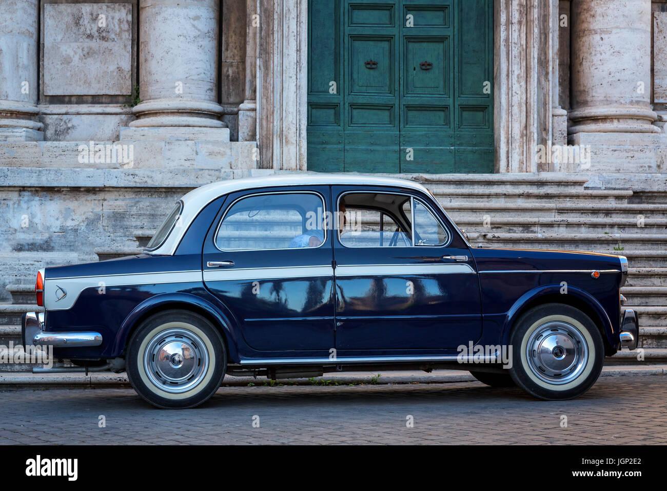 Vintage Fiat 1100, Rome, Lazio, Italy - Stock Image