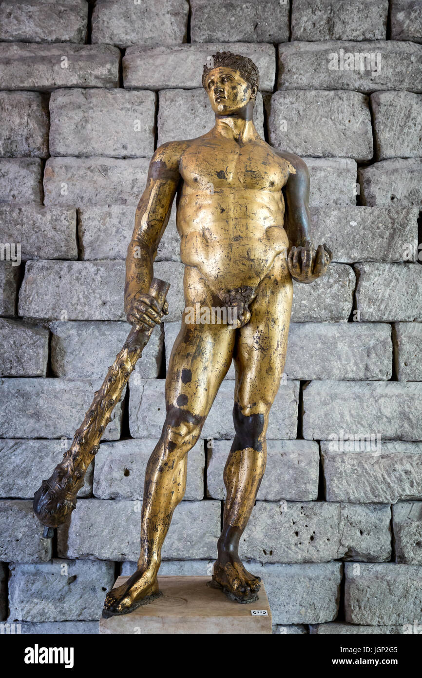 Bronze statue of Hercules in gilded bronze, The Capitoline Museums, Rome, Italy - Stock Image