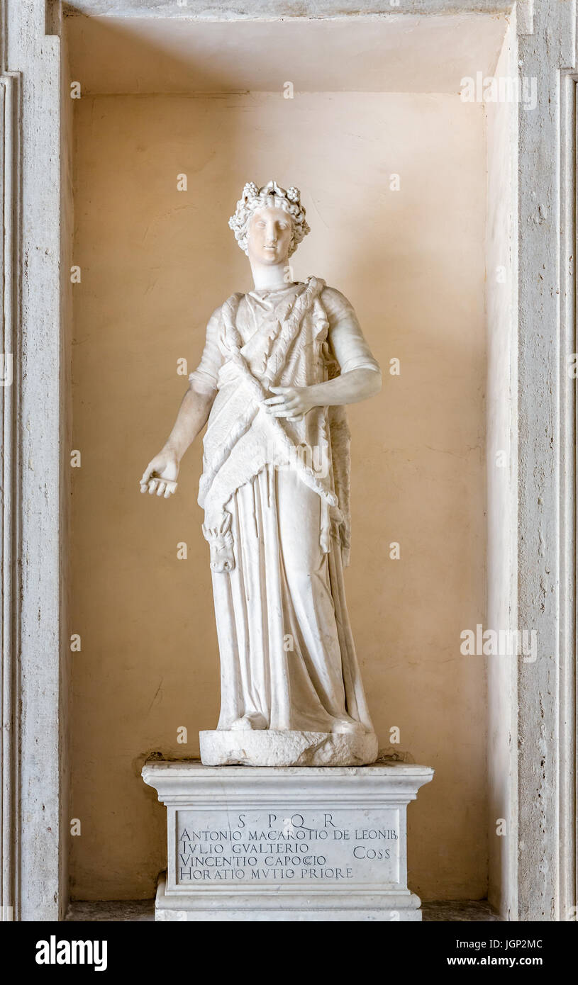 Female Statue, sculpture, The Capitoline Museums, Rome, Italy - Stock Image