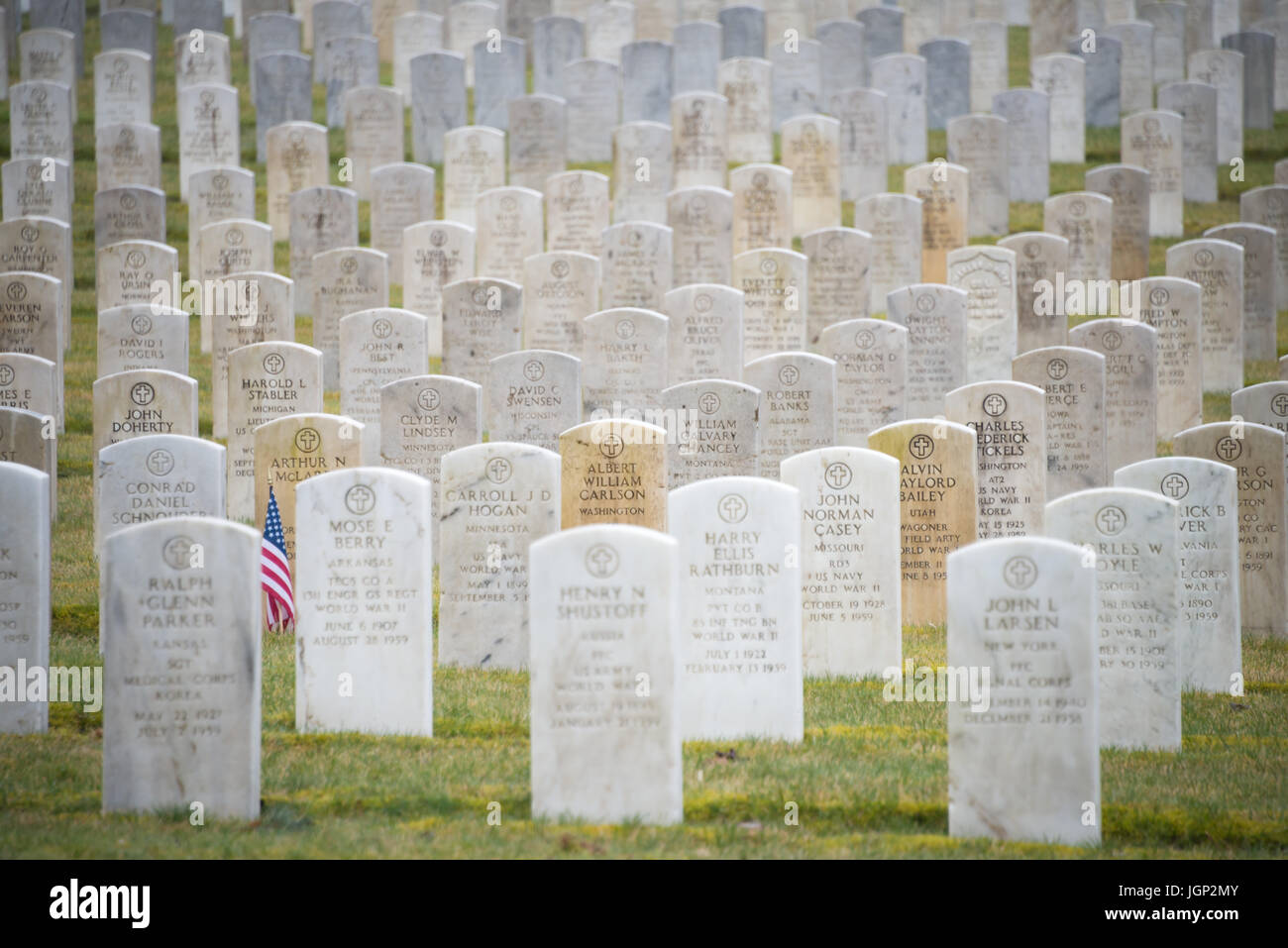 Rows of White Granite Tombstones in Military Cemetery - Stock Image