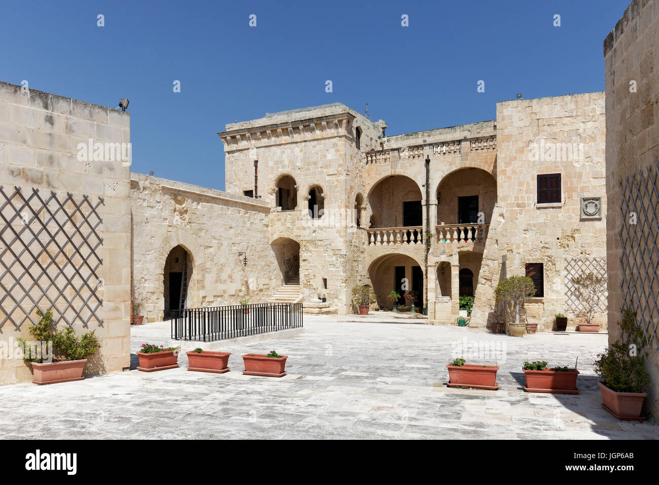 Magistrate Palace of the Knights of Order of Saint John, Fort St. Angelo, Vitgateiosa, Birgu, The Three Cities, - Stock Image